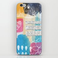 jewish iPhone & iPod Skins featuring Jewish Home Blessing by Linda Woods