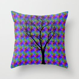 Psychedelic Mystery Tree Throw Pillow