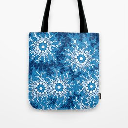 Authentic Aboriginal Art - Waterhole Dreaming Tote Bag