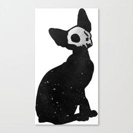 Black Cat Skull Canvas Print