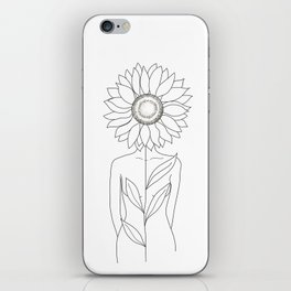 Minimalistic Line Art of Woman with Sunflower iPhone Skin