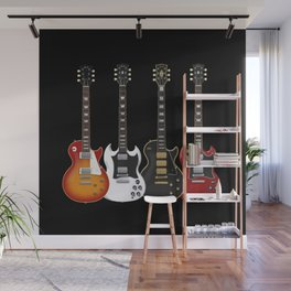 Four Electric Guitars Wall Mural