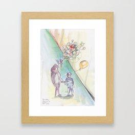 'Balloons' Watercolor Illustration Painting Framed Art Print