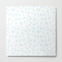 Seashells Blue Metal Print