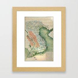 Yuenan Quan Jing Yu Tu (Map of Vietnam circa 1885) Framed Art Print