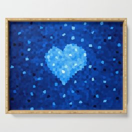 Winter Blue Crystallized Abstract Heart Serving Tray