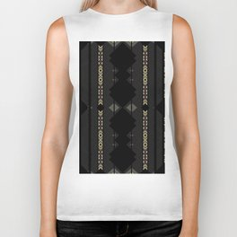 Southwestern Black Diamond Stripe Patterns Biker Tank