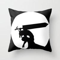 berserk Throw Pillows featuring Gatsu berserk armor by Ednathum