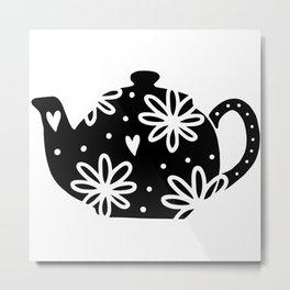 Floral Tea Pot Metal Print