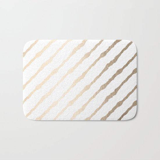 Simply Diagonal Stripes in White Gold Sands on White Bath Mat