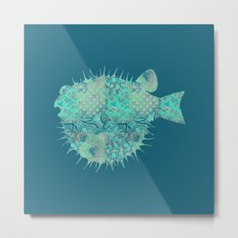 Blowfish, Pufferfish, Ballonfish, Toadies, Tropical Fish, Teal Aqua Mint Blue Metal Print