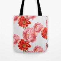 vintage floral Tote Bags featuring vintage floral by cardboardcities