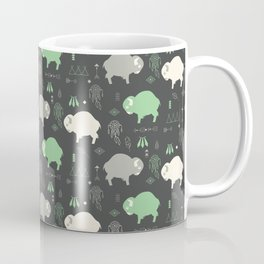 Seamless pattern with cute baby buffaloes and native American symbols, dark gray Coffee Mug