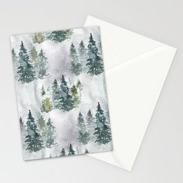 Dreamy Pine Forest in Soft Hues of Green and Gray with Snow  Stationery Cards