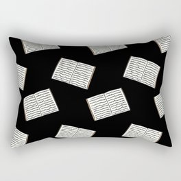 Open Book Pattern (Black) Rectangular Pillow