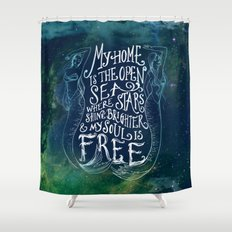 My Home is the Open Sea (Dark Night) Shower Curtain