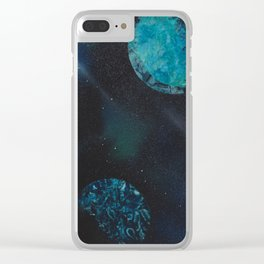 Blue Planets Spacescape - Spray Paint Art Clear iPhone Case