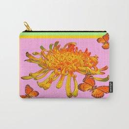 Butterflies, Spider Mum Pink- Mint Green Abstract Design Carry-All Pouch