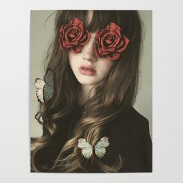 Girl Flower Eyes Poster