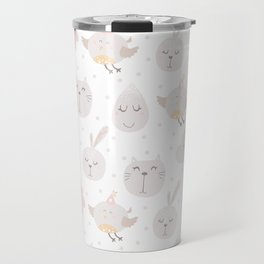 Pastel pink gray cute magical funny unicorn animals Travel Mug