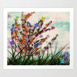 Flowers with butterflies Art Print