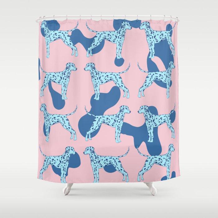 Blue Dalmatian Shower Curtain By Veata