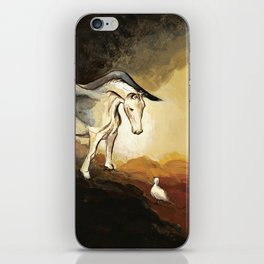 Winged horse with seagull - Silver Stream Children's Book illustration iPhone Skin