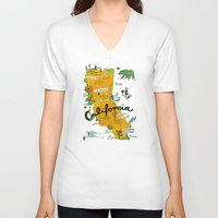 postcard V-neck T-shirts featuring Postcard from California by Christiane Engel