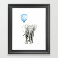 Baby Animal Elephant Watercolor Blue Balloon Baby Boy Nursery Room Decor Framed Art Print