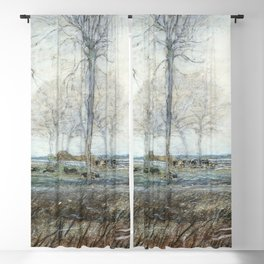 Farm Setting, Three Tall Trees in the Foreground (ca. 1907) drawing in high resolution by Piet Mondr Blackout Curtain