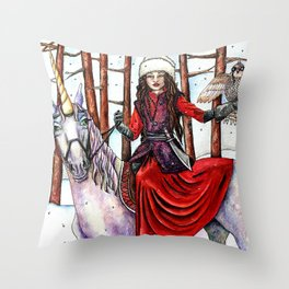 Winter Warrior by DeeDee Draz Throw Pillow