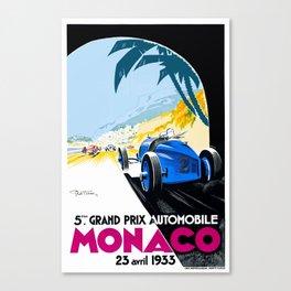 1933 Monaco Grand Prix Race Poster  Canvas Print