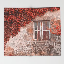 Red Ivy Wall Throw Blanket
