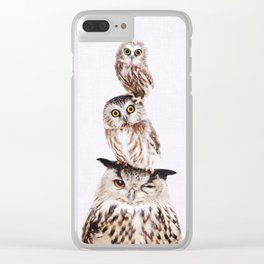 Stacked Owls on Lilac Clear iPhone Case
