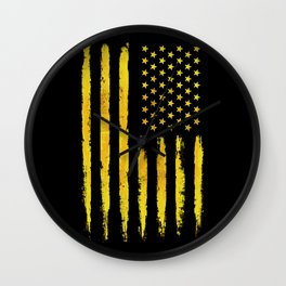 Gold grunge american flag Wall Clock