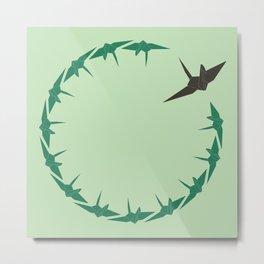 Origami Bird Circle Metal Print