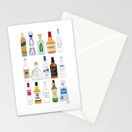 Tequila, Whiskey, Vodka Bottles Illustration Stationery Cards