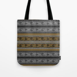 Fret Stripe in Black and Brown Tote Bag