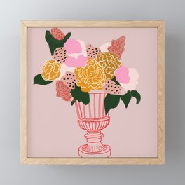 Bouquet of shapes - Floral Illustration - floral print - Flowers in urn vase Framed Mini Art Print
