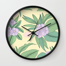 Jungle Daydream Purple Floral Print Wall Clock