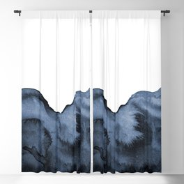 Watercolor Splash in Blue Blackout Curtain