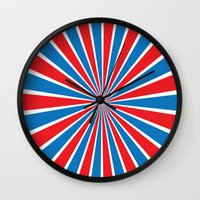 patriotic Wall Clocks featuring Patriotic Burst by Zen and Chic