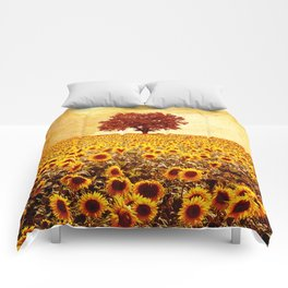 lone tree & sunflowers field Comforters