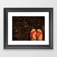 Shoes in the Mulch Framed Art Print