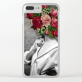 woman and flowers Clear iPhone Case