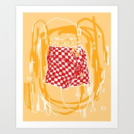I thought of you again last night (yellow red) Art Print