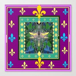 Yellow Dragonfly Purple Fleur de Lys Abstract Canvas Print