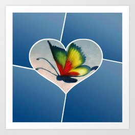 Butterfly Love - Blue Art Print