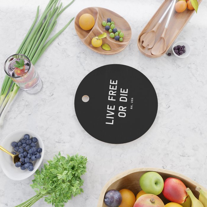 Live Free or Die - NH, USA (Black Motto) Cutting Board