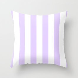 Chalky Pale Lilac Pastel and White Beach Hut Stripes Throw Pillow
